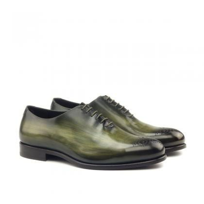 Handmade leather Olive Green Patina..