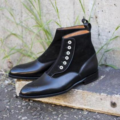 Handmade leather Black Ankle High B..