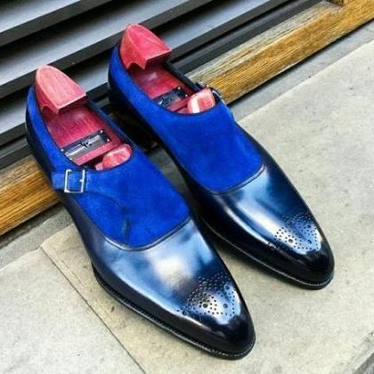 Handmade blue suede and plain leath..