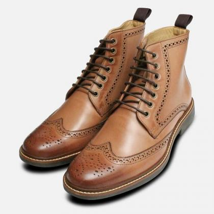 Handmade Brown Leather Men Ankle Hi..