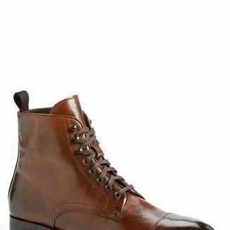 Handmade Leather Man Brown Ankle Cu..