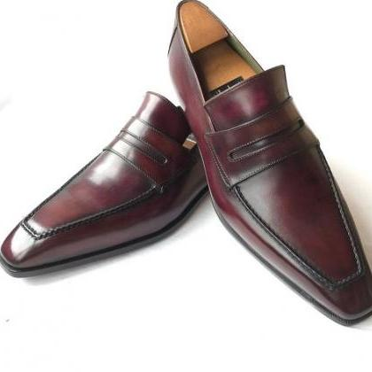 Handmade Men burgundy formal leathe..