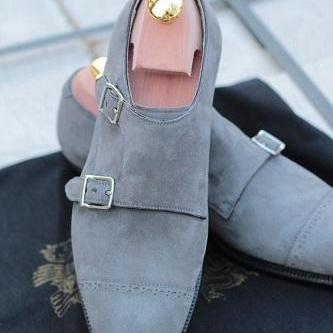 New Handmade Men Gray Color Suede M..