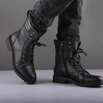 New Men Black Military Style Boot, ..