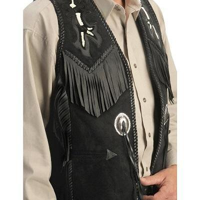 Men's black leather vest jacket hig..