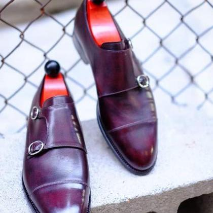 Handmade Men's Double Monk Strap Bu..