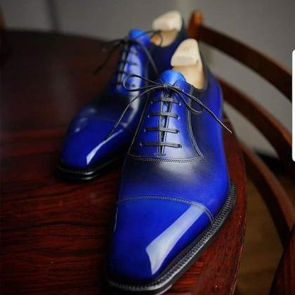 Handmade Men's blue patina oxfords ..