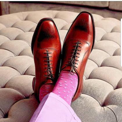 Handmade Men's Wingtip Chestnut Bes..