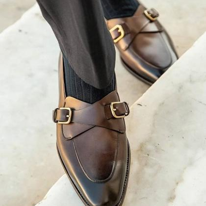 Handmade men's Brown Double Monk Le..