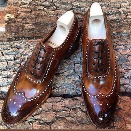 Men's Leather Wingtip Shoes, Handma..