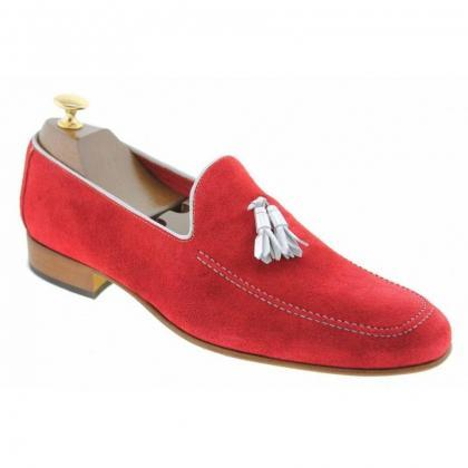 Men's Handmade Red Leather Loafers ..