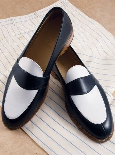 Handmade leather Black and white loafers dress shoes for men classic oxfords shoes