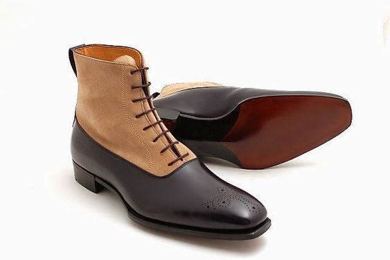 Handmade leather Black Ankle High dress shoes for men classic chukka shoes