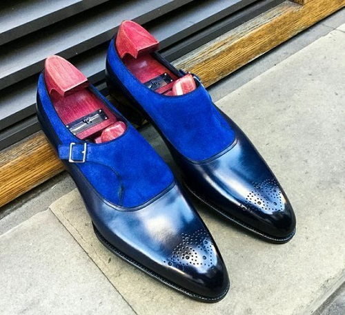 Handmade blue suede and plain leather monk shoes men dress monk shoes