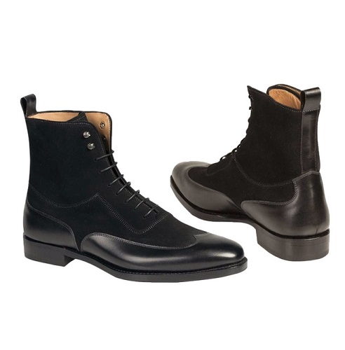 New Handmade Men Fashion Black Color Wing Tip Ankle Boots, Handmade Men Suede And Leather Boot