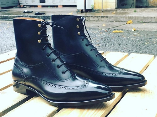 New Handmade Mens Navy Blue Wingtip Brogue Dress Boots, Custom Made Men Ankle Leather Boot