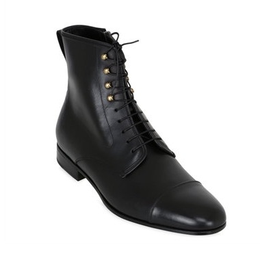 Handmade Men's Leather Ankle High Leather Boots with Metallic Eyelets