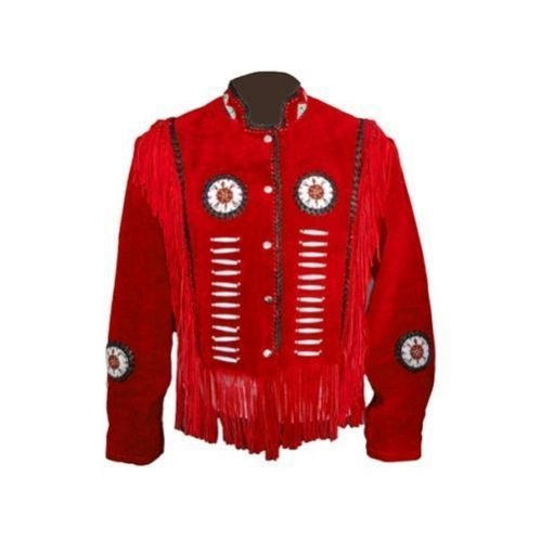 Handmade Red Cowboy Western Wear Suede Leather Jacket Beads US Fringe Jacket