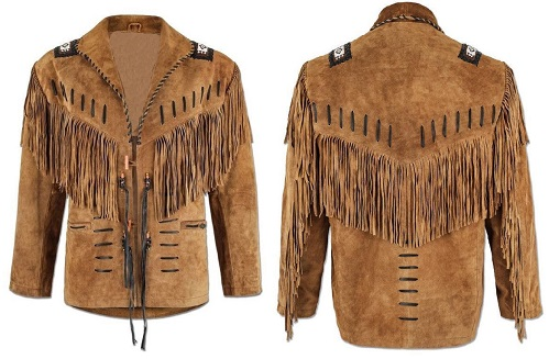 Handmade Men's Buckskin Suede Leather Brown Jacket Native American Fringes Coat