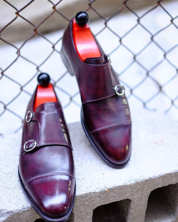 Handmade Men's Double Monk Strap Burgundy Shoes, Men's Dress Shoes for men