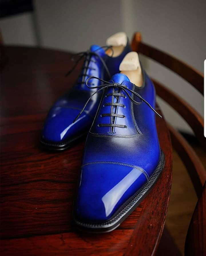 Handmade Men's blue patina oxfords leather shoes, Custom Made oxfords formal leather shoes