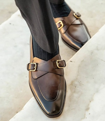 Handmade men's Brown Double Monk Leather Dress Shoes, Custom Made Shoes