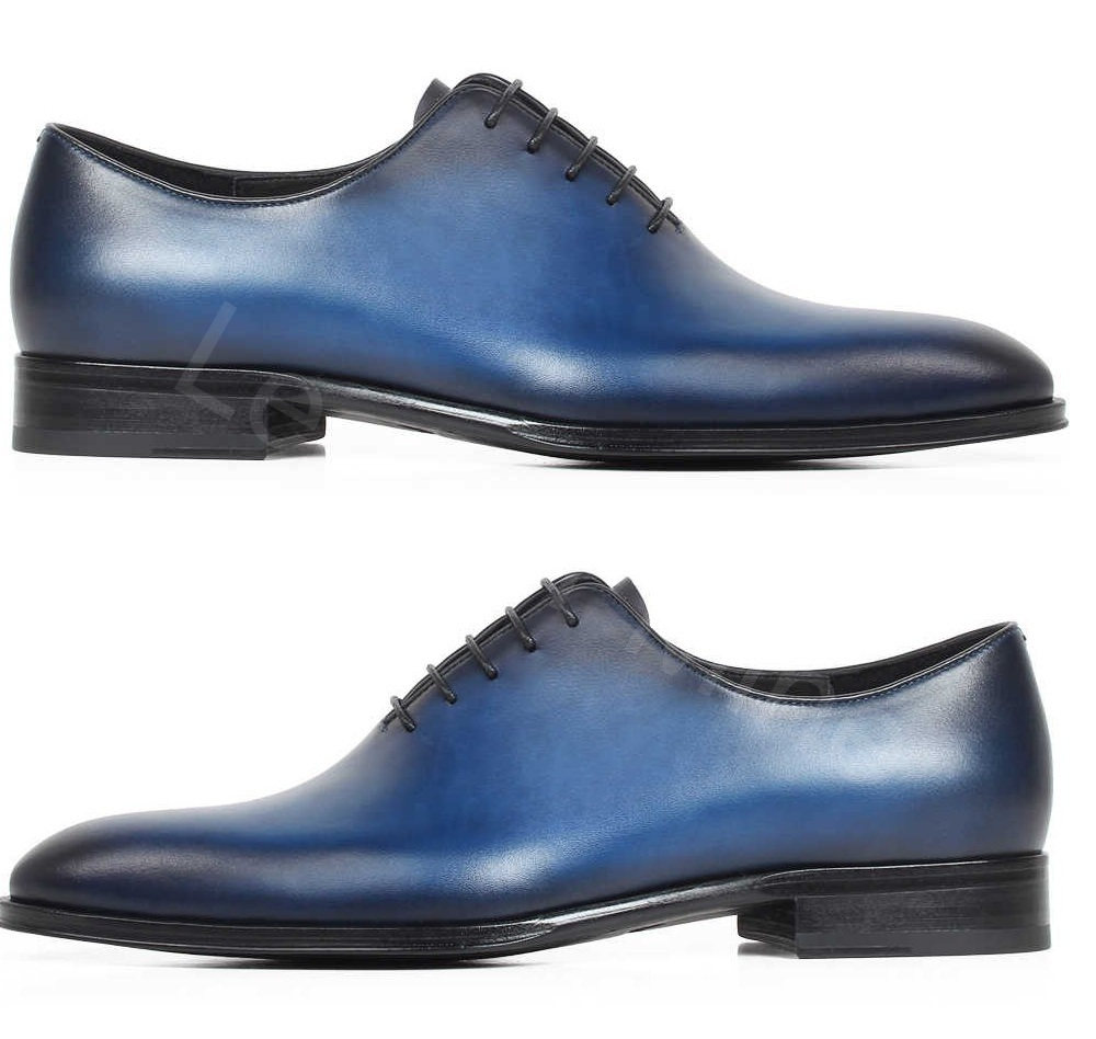 Mens Handmade Leather Formal Lace up Oxfords Blue Patina Whole cut Shoes