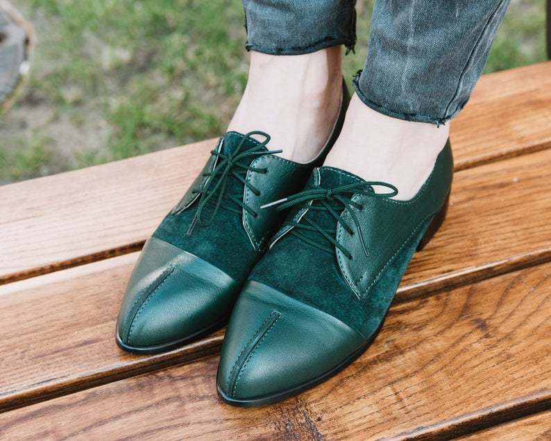 Women's Handmade Green Leather Derby Shoes, Custom Made Green Leather Dress Shoes For Women