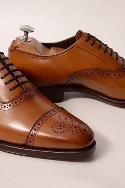Handmade leather lace up dress shoes for men