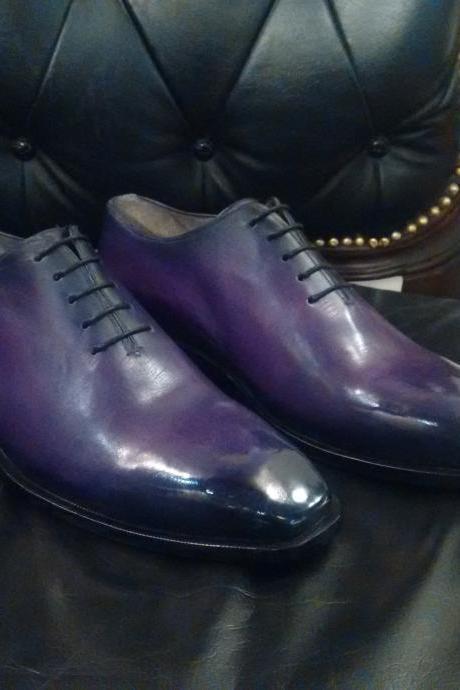 Handmade leather Purple Patina lace up dress shoes for men Oxfords shoes