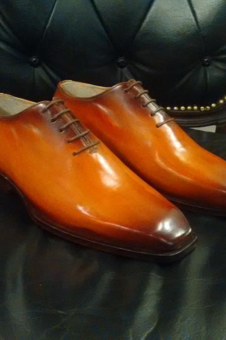Handmade leather Tan Patina lace up dress shoes for men Oxfords shoes