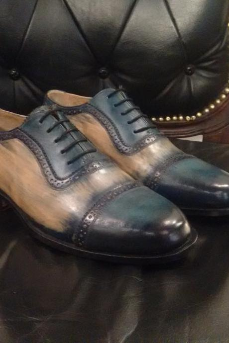 Handmade leather Blue Patina lace up dress shoes for men oxford shoes