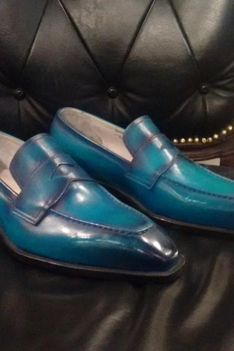 Handmade leather Ocean Blue Patina Loafers dress shoes for men