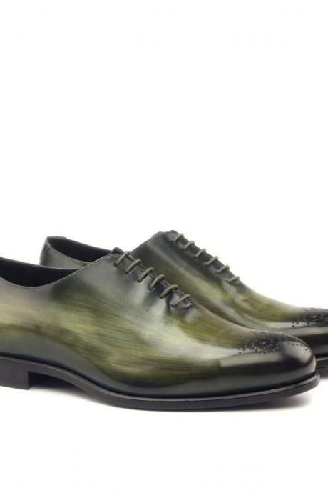 Handmade leather Olive Green Patina lace up dress shoes for men Whole Cut Oxfords shoes