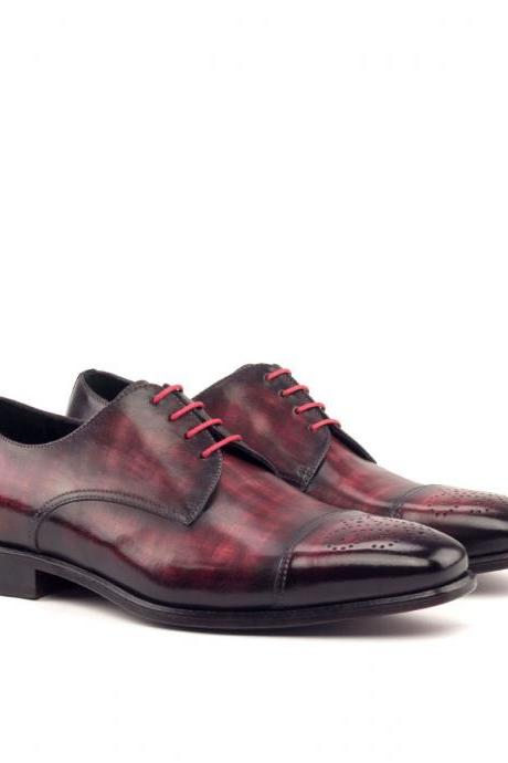 Handmade leather Ox Blood Patina lace up dress shoes for men Oxfords shoes