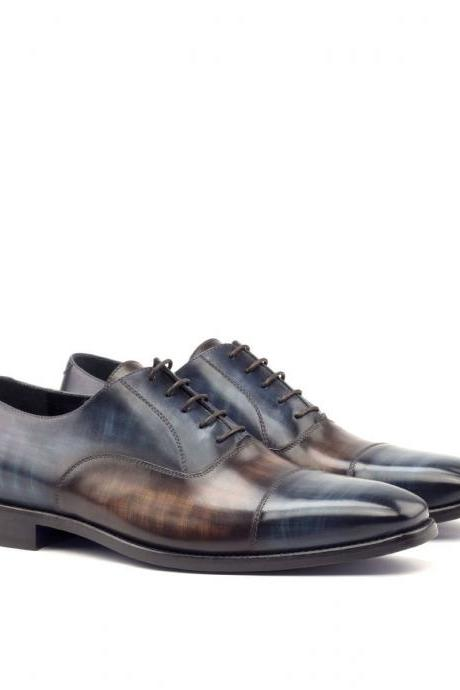 Handmade leather Two Tone Patina oxfords dress shoes for men classic oxfords shoes