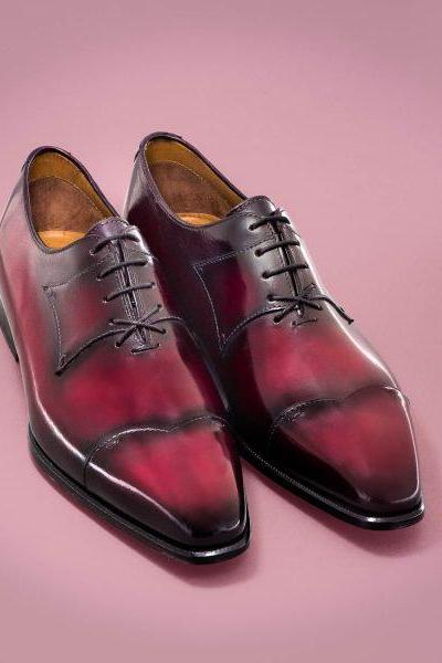 Handmade leather Maroon Patina oxfords dress shoes for men classic oxfords shoes