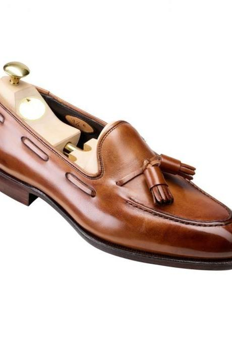 Handmade leather Cognac Two Tone Tassel Loafers dress shoes for men classic Slip on shoes