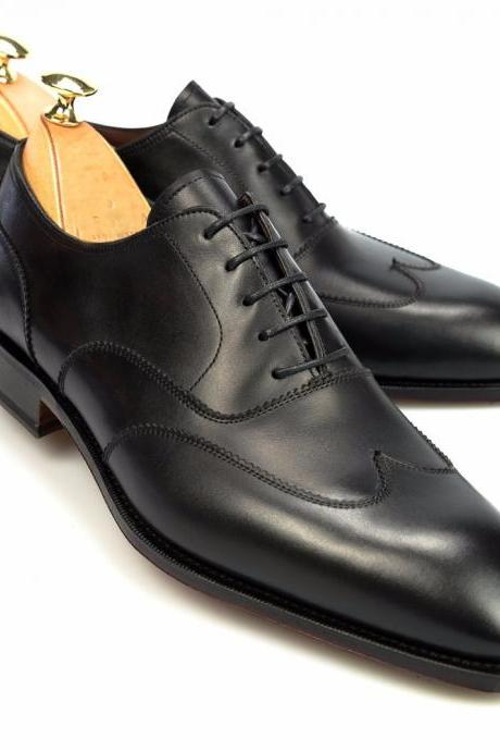 Handmade leather Black wingtip oxfords dress shoes for men classic oxfords shoes