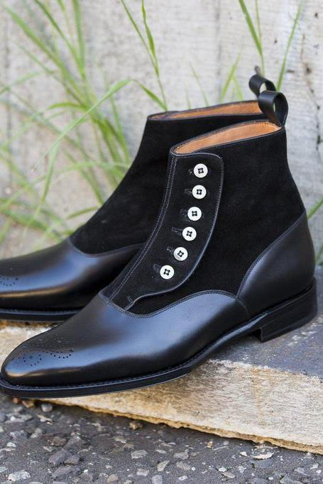 Handmade leather Black Ankle High Buttoned dress Boots for men classic oxfords shoes