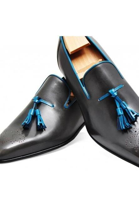 Handmade leather Black Whole cut loafers dress shoes for men classic loafers shoes