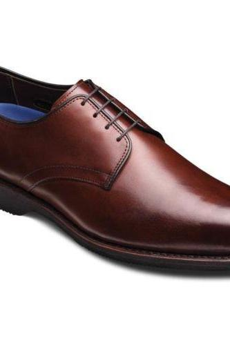 Handmade Brown Leather Derby Oxfords dress shoes for men classic shoes