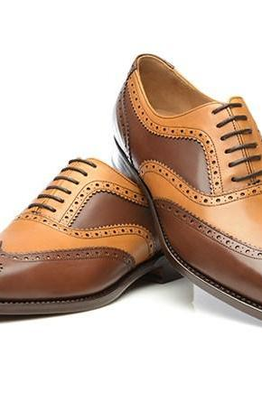 Handmade leather Brown And Tan corespondent oxfords dress shoes for men classic oxfords shoes