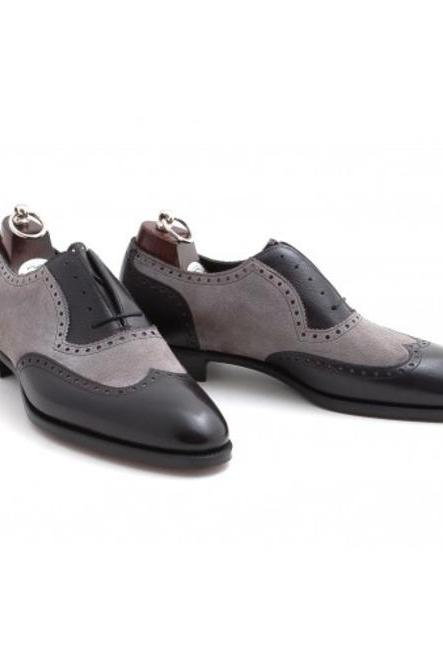 Handmade leather Grey And Black corespondent oxfords dress shoes for men classic oxfords shoes