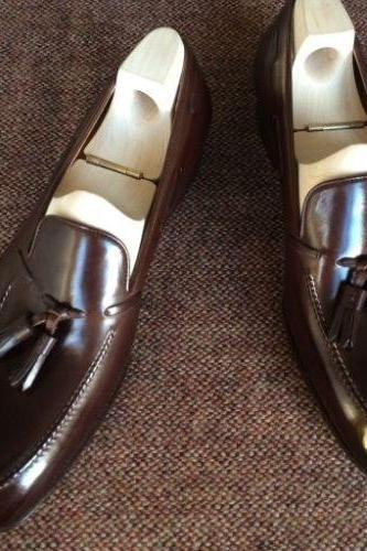 Handmade leather brown tassel loafers dress shoes for men classic formal shoes