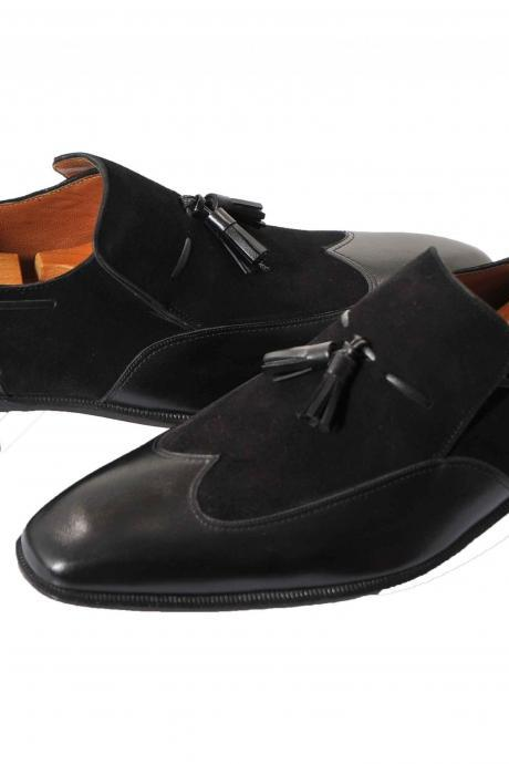 Handmade leather Black tassel loafers dress shoes for men classic oxfords shoes
