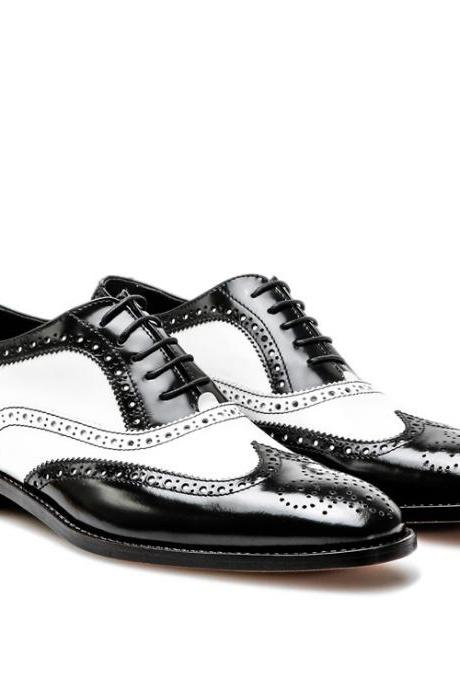 Handmade leather Black and white dress shoes for men classic correspondent shoes