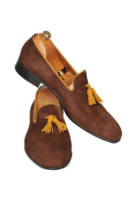 Handmade leather Brown Suede Tassel Loafer shoes for men classic men shoes