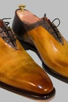 Handmade Two Tone Lace Up Dress Shoes for Men Unique Pattern Hand Finished