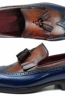 New Handmade Leather Dress Loafers for Men Two Tone Suit Tassel